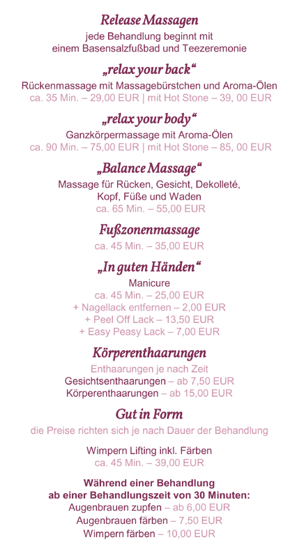 Relax & Care Body-Balance-Treatments